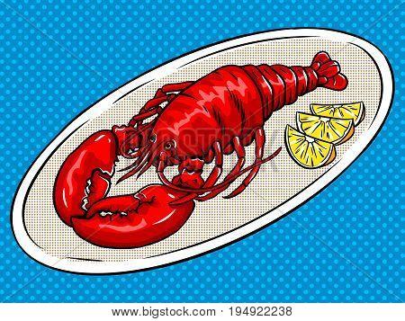 Lobster pop art hand drawn vector illustration.