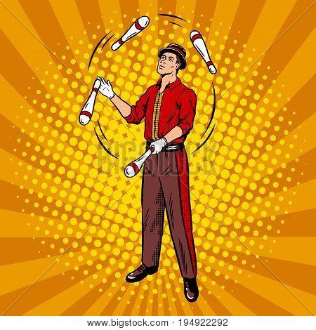 Circus juggler pop art retro vector illustration. Comic book style imitation.