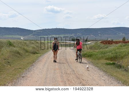 Women do sport and walk with a bike down a road
