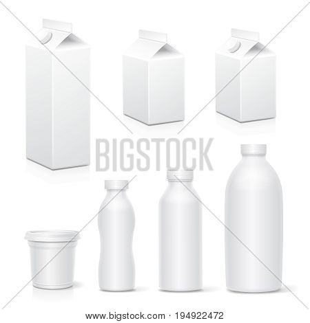 Milk and juice white carton package boxes collection Realistic dairy products pack mock up vector.