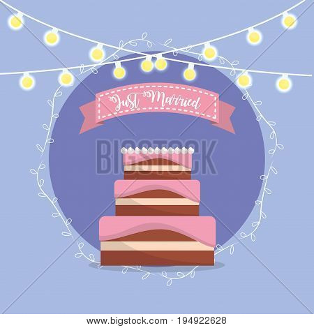 cake with just married message in the ribbon design vector illustration