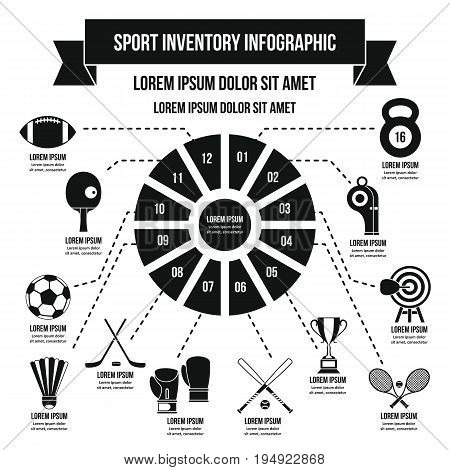 Sport inventory infographic banner concept. Simple illustration of sport inventory infographic vector poster concept for web