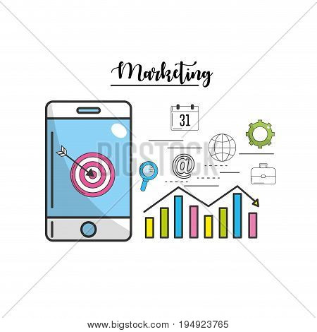 smartphone with statistic and target with technology icon vector illustration