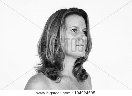 Studio People Shoot Portrait Isolated on White Concept