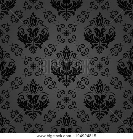 Classic seamless vector dark pattern. Traditional orient ornament. Classic vintage background