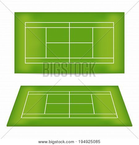 Tennis court set. Tennis court with trampled down grass. Top view and perspective view. Vector