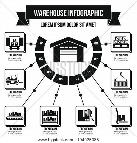 Warehouse infographic banner concept. Simple illustration of warehouse infographic vector poster concept for web