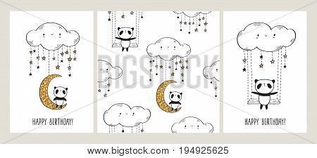 Happy Birthday. Set of Greeting cards with cute pandas on the moon and swing. Seamless pattern for gift wrap, textile or book covers and scrapbook. White background. Vector illustration.