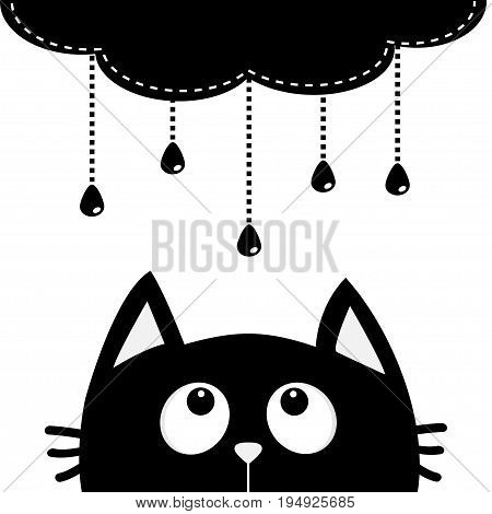 Black cat looking up to cloud with hanging shining rain drops. Dash line set. Cute cartoon character. Valentines Day. Kawaii animal. Love Greeting card. Flat design. White background Isolated. Vector