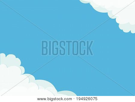 White cloud in corners frame template. Fluffy cloudshape. Cloudy weather. Flat design. Blue sky background. Isolated Vector illustration