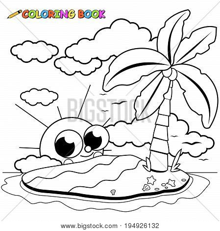 Deserted island and cute cartoon sun. Coloring book page