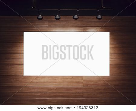 Blank banner Poster Mock up on wooden wall with spot light