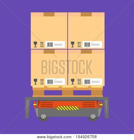 Cardboard boxes, with small barcodes on side and fragile freight inside, loaded on special cart for fast and convenient transportation isolated cartoon vector illustration on purple background.