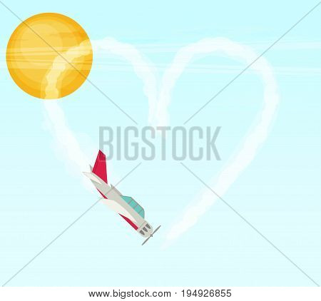 Plane. Aerobatics. Heart. Flat vector for design