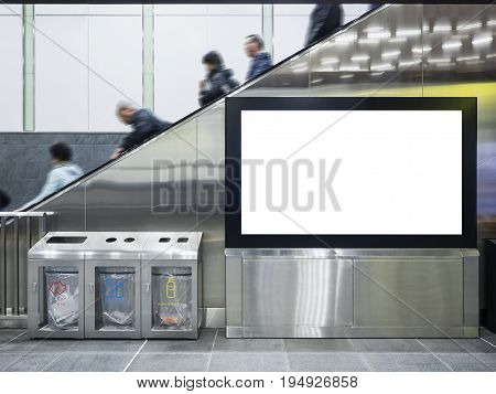 Mock up Lcd screen Public building with escalator and Recycle bin Japan Train station