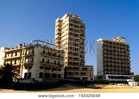 exterior view to Varosha abandoned district of Famagusta at Nothern Cyprus