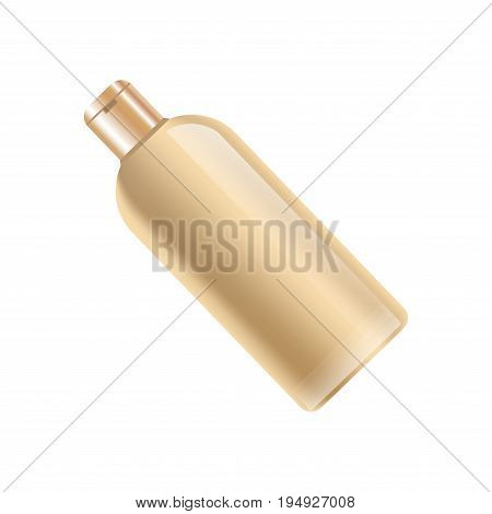 Shampoo bottle in beige color without label isolated on white vector colroful illustration in realistic design. Closeup poster of plastic container for keeping cosmetic mean for hair cleaning