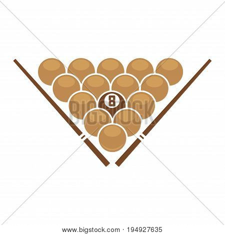 Vector illustration of eight ball in triangle with cues on sides.