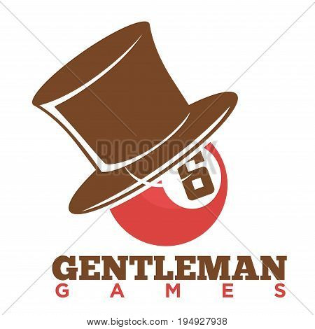 Vector illustration of gentleman games logo with pool ball in top hat.