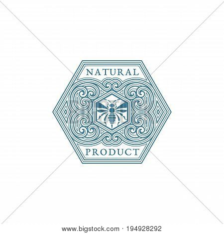 Vintage flourishes ornament label template with bee in trendy linear style. Vector illustration.
