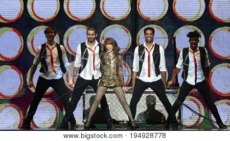 NEW YORK-JUL 7: Paula Abdul performs during The Total Package Tour at NYCB Live at the Nassau Veterans Memorial Coliseum on July 7, 2017 in Uniondale, New York.