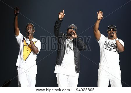 NEW YORK-JUL 7: (L-R) Shawn Stockman, Wanya Morris and Nathan Morris of Boyz II Men perform at NYCB Live at the Nassau Veterans Memorial Coliseum on July 7, 2017 in Uniondale, New York.