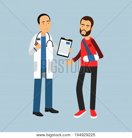 Male doctor giving recommendations to the patient with a broken arm, vector Illustration on a light blue background