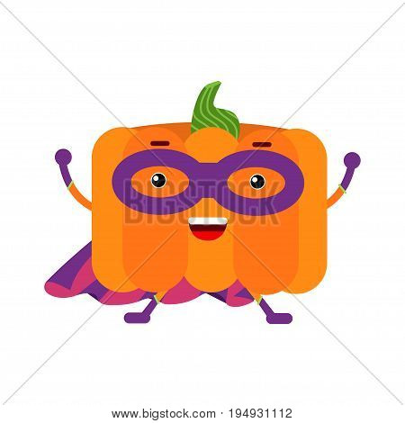 Cute cartoon pumpkin superhero in mask and purple cape, colorful humanized vegetable character vector Illustration isolated on a white background