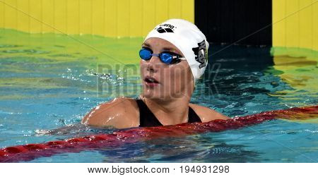 Hong Kong China - Oct 30 2016. Competitive swimmer Katinka HOSSZU (HUN) after the Women's Freestyle 400m Preliminary Heat. FINA Swimming World Cup Victoria Park Swimming Pool.
