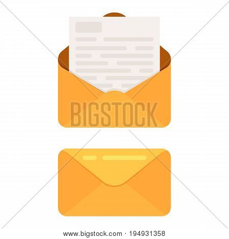 Opened and closed envelope with note paper card. Mail icon. Vector illustration in cartoon style isolated on white background