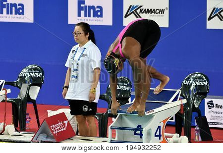 Hong Kong China - Oct 30 2016. Jamaican swimmer and olympian Alia Atkinson at the start of the Women's Breaststroke 200m Preliminary Heat. FINA Swimming World Cup Victoria Park Swimming Pool.
