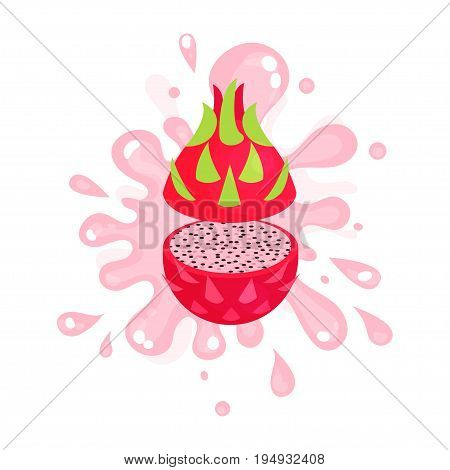 Sliced ripe pitaya juice splashing, colorful fresh juicy fruit vector Illustration isolated on a white background