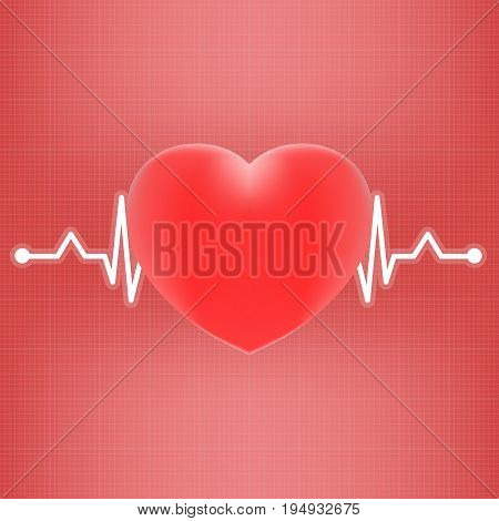 Heart And Heart Beat On Ekg Isolated On A Background. Realistic Vector Illustration. Medicine