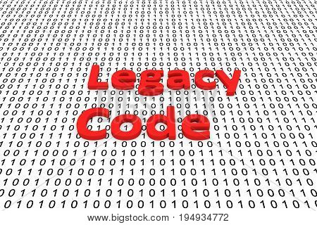 Legacy code in the form of binary code, 3D illustration