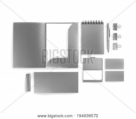 Elements of corporate identity silvery corporate identity silvery design elements set to accommodate corporate identity collection of corporate identity isolated on white background