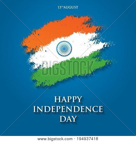 India Independence Day Greeting Card Vector Illustration. 15Th A