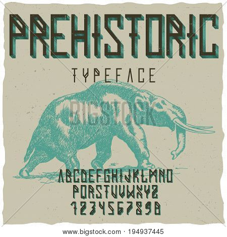 Prehistoric runes typeface poster with hand drawn mastodon on dusty background vector illustration