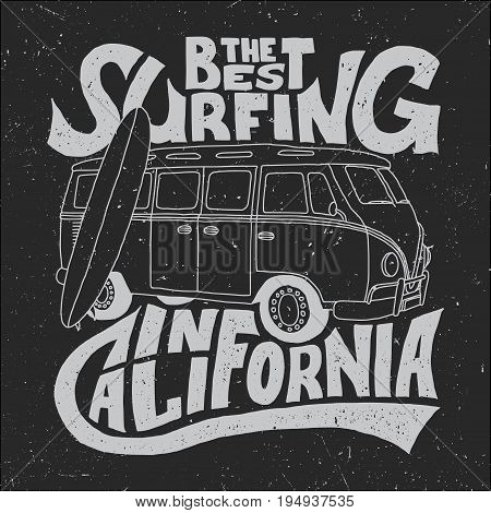 California Best Surfer Poster with bus and board on effective background vector illustration