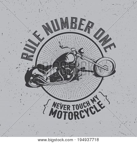 Motorcycle Creative Poster with bike and words rule number one on grey background vector illustration