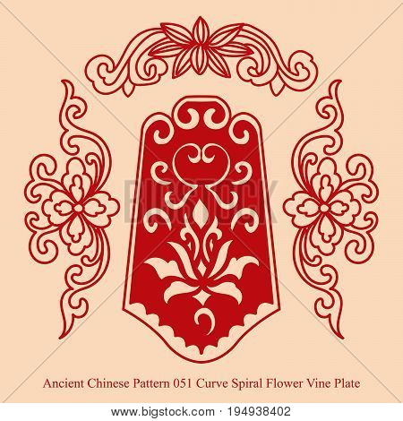 Ancient Chinese Pattern Of Curve Spiral Flower Vine Plate