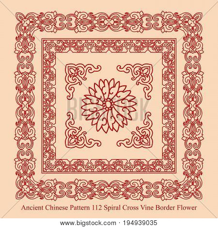 Ancient Chinese Pattern Of Spiral Cross Vine Border Flower