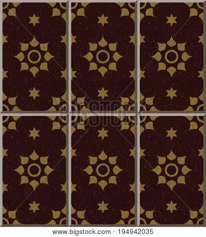 Ceramic Tile Pattern Of Vermillion Star Round Flower