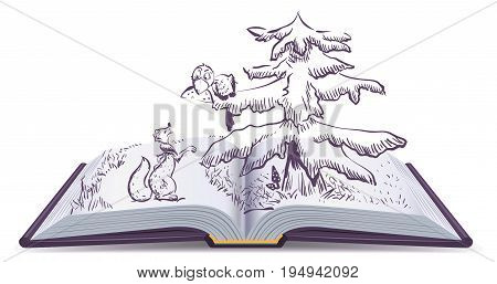 Fox and Crow story. Open book fable illustration. Isolated on white vector cartoon illustration