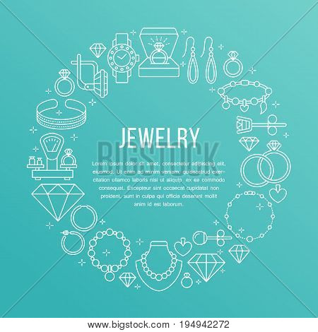 Jewelry shop, diamond accessories banner illustration. Vector line icon of jewels - gold engagement rings, gem earrings, silver necklaces, brilliant. Fashion store circle template with place for text.