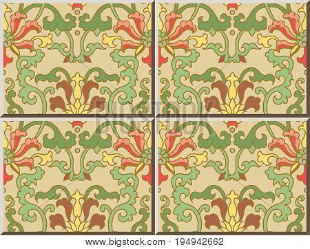 Ceramic Tile Pattern Chinese Botanic Garden Spiral Curve Vine Flower Leaf
