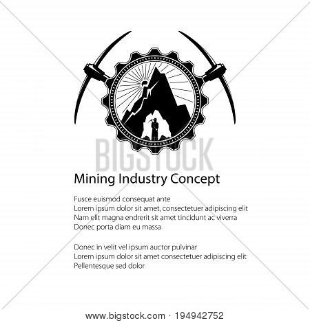 Miner in the Helmet is Holding Pickaxe in the Bowels of the Mountain on a Background of the Sunburst in a Gear with Two Crossed Pickaxes and Text , Mining Industry, Flyer Brochure Design, Vector