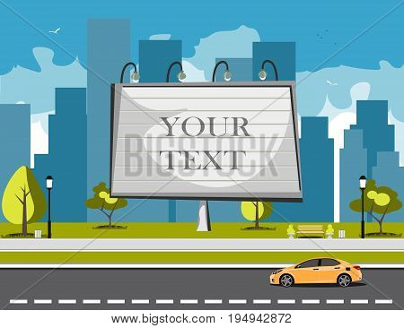 Large blank urban billboard with copy space text. Flat style vector illustration template.