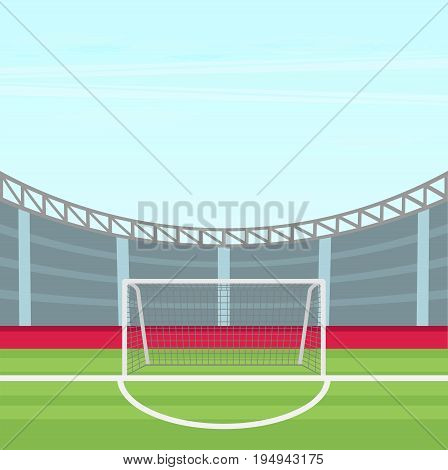 Background Of Football Stadium Vector Flat Design Illustration.