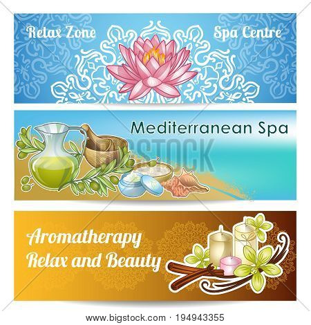 Three horizontal spa salon banner set with relax zone spa centre mediterranean spa and aromatherapy relax and beauty descriptions vector illustration