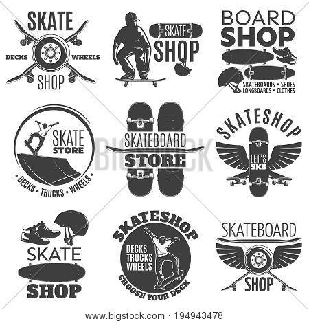 Vintage skateboarding shop emblems set with letterings skateboarder and sport equipment isolated vector illustration